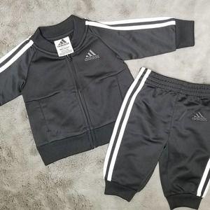 Adidas 3 Stripe Track Suit Black White 3 Months